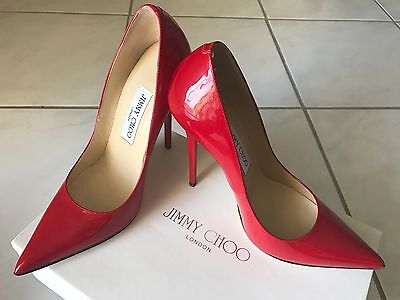 jimmy choo anouk 36.5 patent leather red pump
