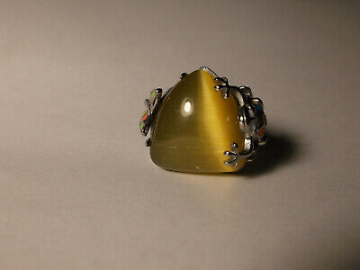 Simulated Yellow Cats Eye, Austrian Crystal, Enameled Stainless Steel Ring sz 6 Simulate Austrian Crystal