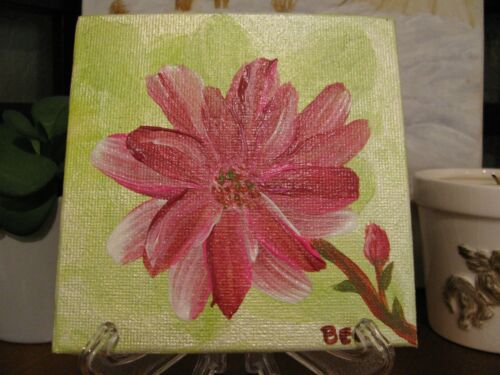 """Original, Hand Painted, Pink Flower, Art Acrylic on Canvas 4""""x4"""" w/Stand"""