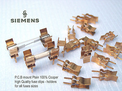 Fuse Holders - Clips For P.c.b Mount. 100 Pure Copper Nos X 10 Pieces