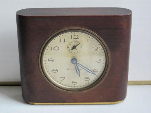 Vintage Wood (Mahogany) Seth Thomas Alarm Clock Deft-3 - Runs, Needs Cleaning