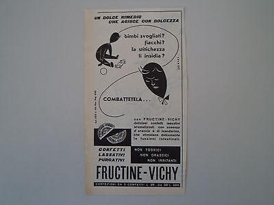 advertising Pubblicità 1959 CONFETTI LASSATIVI FRUCTINE VICHY