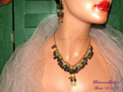 VINTAGE CHARMS CZECH GLASS BERRY CHARMS BEADED ARTISAN NECKLACE EARRINGS SET