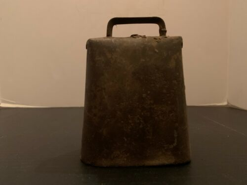 Antique Primitive Folded Riveted Metal Cow Bell 5 Inches