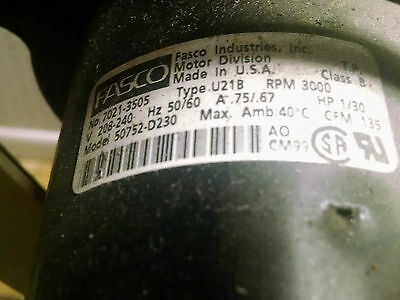 Centrifugal Blower Fasco Exhaust Fan Model 50752-d230
