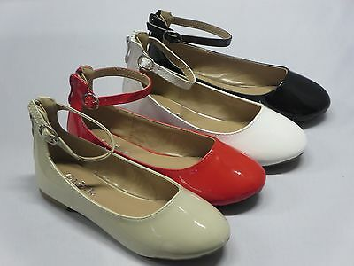 Girl Flats w/Ankle Strap (gloria57) Youth Flower Pageant Blacks Red Beige - Girls Red Flats