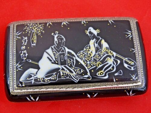 ANTIQUE SILVER ENAMEL SNUFF BOX JAPANESE ORIENTALIST sterling AUSTRIA or SWISS