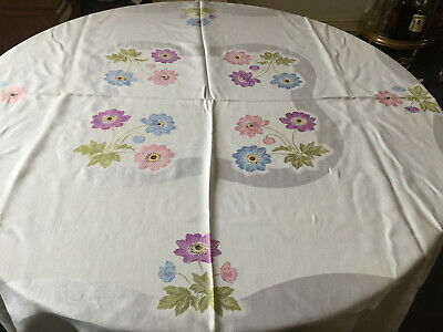 VINTAGE White Damask Floral Multicoloured Regtangle Table Cloth Linen 52 X 48