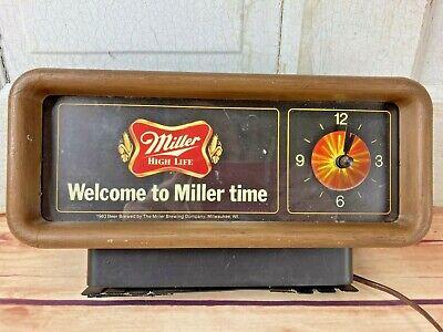 VINTAGE MILLER HIGH LIFE BEER LIGHTED MOTION CASH REGISTER CLOCK