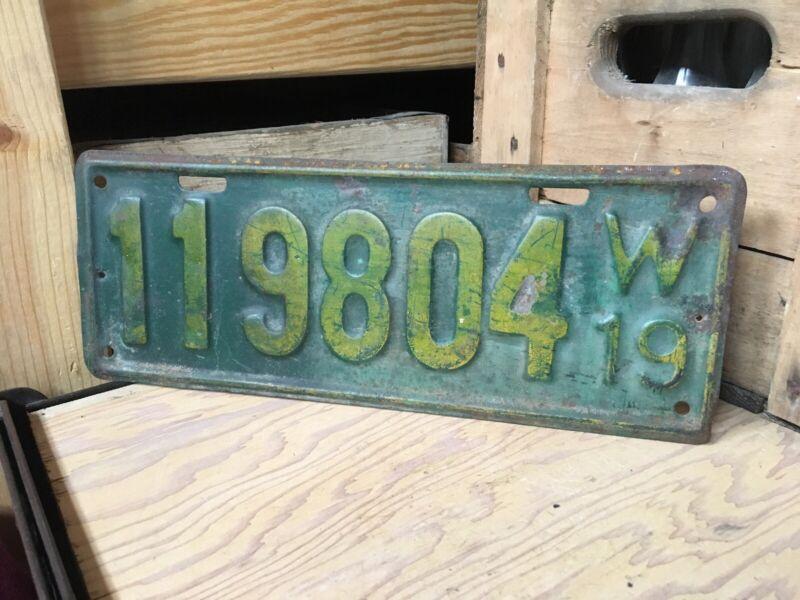 Vintage 1919 Wisconsin Automobile Auto Car Tag License Plate