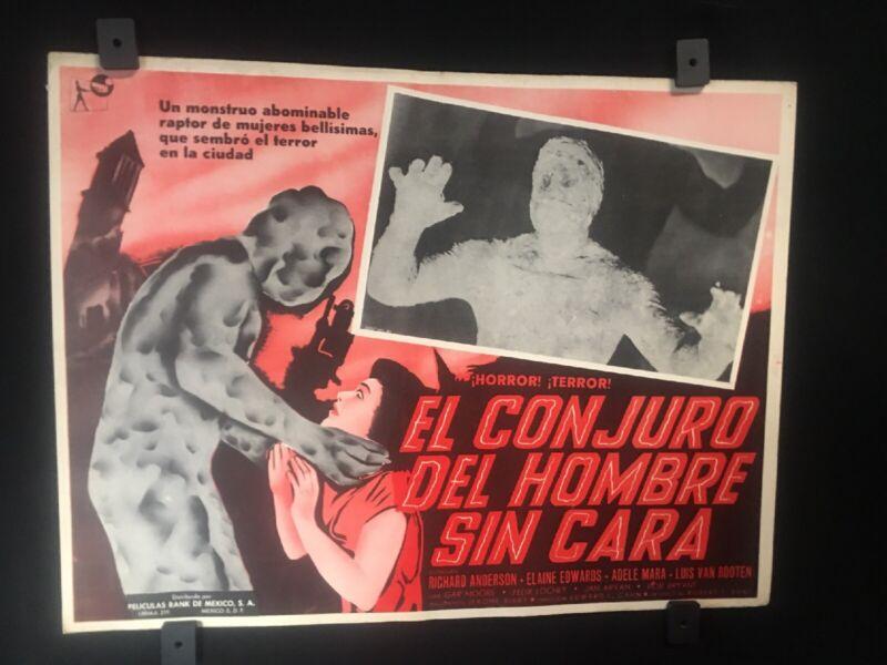 """1958 EL CONJURO DEL HOMBRE SIN CARA Authentic Mexican Lobby Card Art~16""""x12"""""""