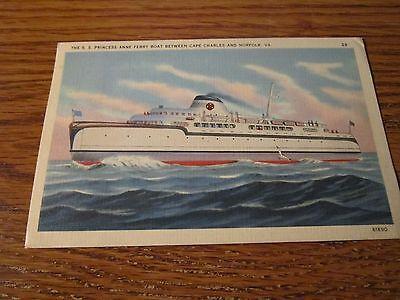 Cape Charles Norfolk VA Postcard Princess Anne Ferry Boat 1939 postmark Virginia