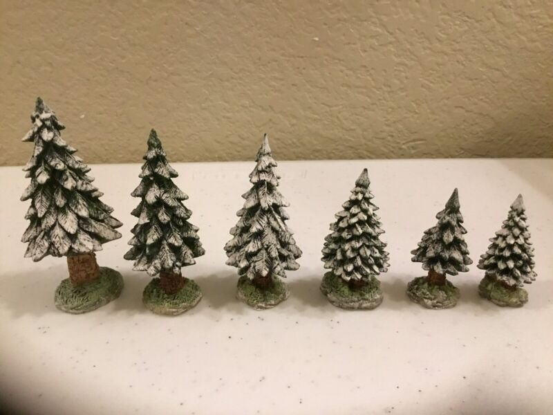 """Dept 56 Village Accessories """"Snowy Evergreens"""" Trees Set of 6 Small #56 52612"""
