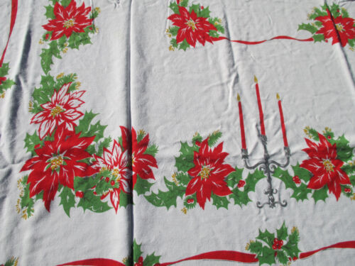 """Christmas Tablecloth Vintage Cotton Candles Poinsettia Holly Holiday 61"""" x 55"""""""