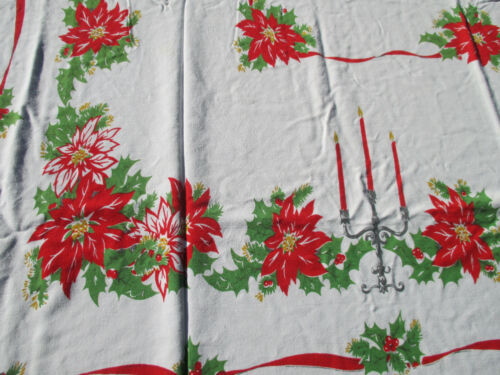 "Tablecloth Vtg Cotton Printed Candles Poinsettia Holly Christmas Holiday 61""x55"""
