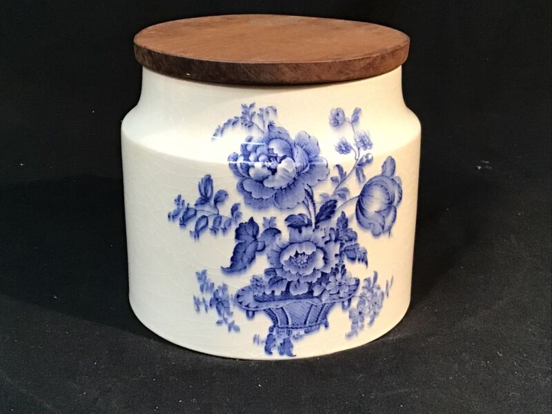Crown Devon Staffordshire Pottery Blue & White Canister WOOD LID Floral Bouquet