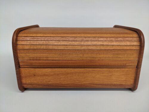 Vintage Kalmar Designs Teak Wood Tambour Roll Top CD Storage 13x10x7 MCM STYLE
