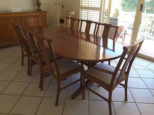 Solid Handcrafted Red Cedar Dining Table, 2 carvers, 6 chairs Carindale Brisbane South East Preview