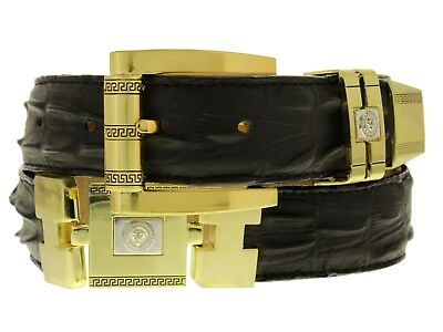 Mens Crocodile Print Black Gold Links Cowboy Rodeo Western Belt Ostrich
