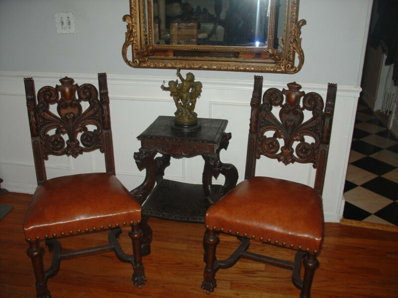 Antique RJ Horner oak Griffin Chair Set of 2 Wood Figural Saddle Color Fabric