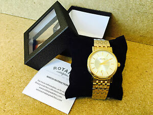 29N NEW ROTARY MENS CLASSIC GOLD BRACELET WATCH ANALOGUE DATE SLIM GB03635/03