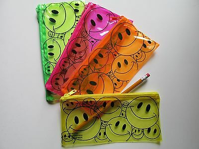 12 SMILEY FACE PENCIL CASES bulk wholesale FREE SHIP