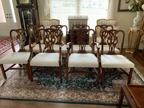 Baker Furniture set 8 Chippendale Dining  Chairs---Pretzel back---Vintage