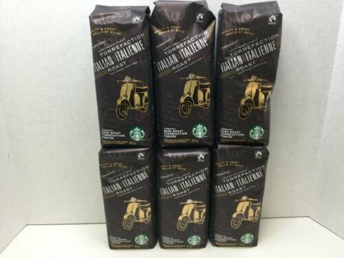 Starbucks Italian Roast Whole Bean Coffee, 16 oz, Case of 6 Bags, FEB 2021