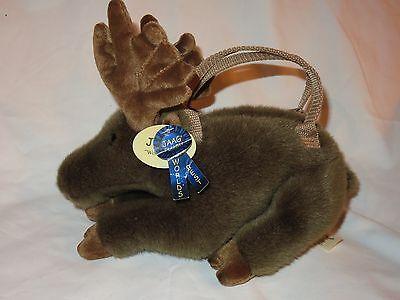 "Jaag Plush Moose Purse Brown Fur Zipper Handles NWT NEW 11"" for sale  South Lyon"