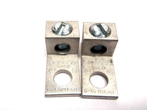 "Lot of (2) Burndy KA6U 1.06"" Aluminum Mechanical Connector Lug 6-14 AWG"