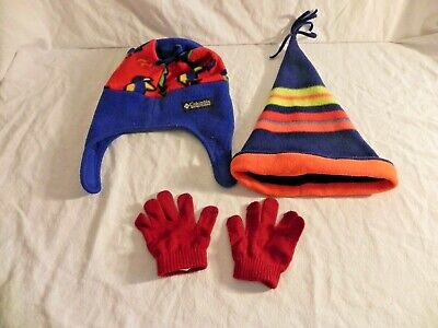 EUC Columbia Bird Cat JESTER Gymboree Striped TODDLER FLEECE HATS & - Columbia Hats Gloves