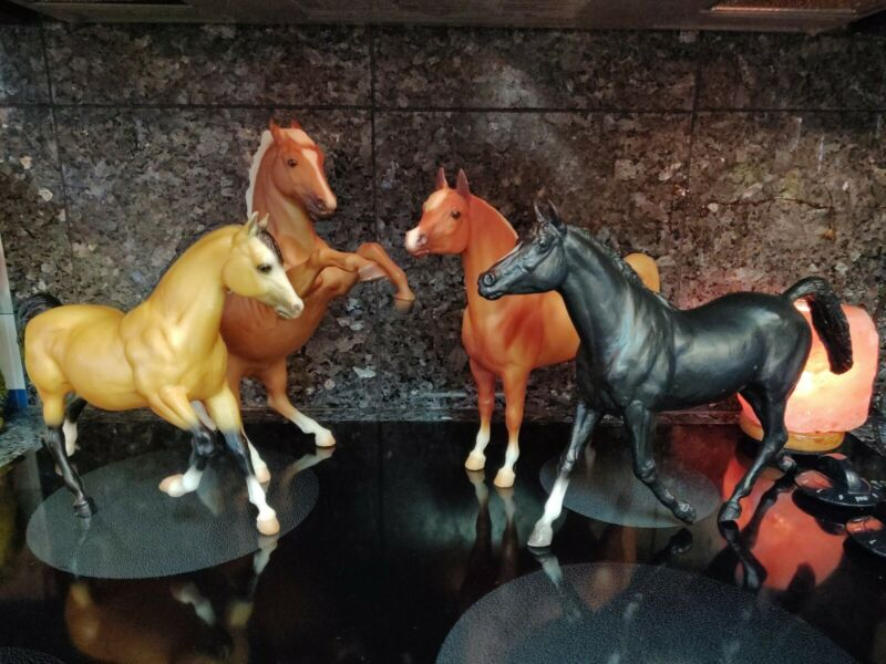 Breyer lot of 4 horses. Fighting stallion, PAS, Black Beauty and buckskin mare