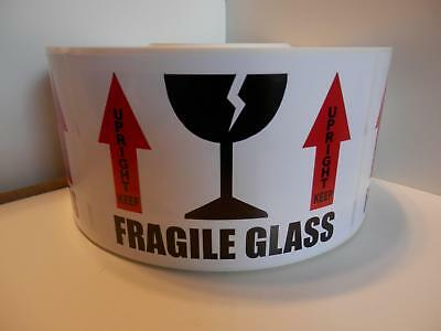 Fragile Glass Keep Upright 3.5x5.5 Warning Sticker Label 75 Per Roll