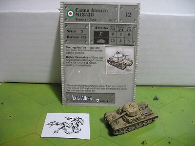 Axis & Allies Base Set Carro Armato M13/40 with card 41/48 Axis Allies Base Set