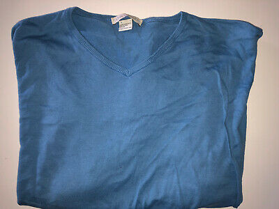 Mens John Smedley Fine Knit Blue Jumper Size XL Sea Island Cotton