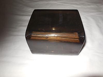 Vintage Eldon Business Card File Box Smoked Acrylic