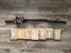 Large solid wood BELIEVE Christmas sign