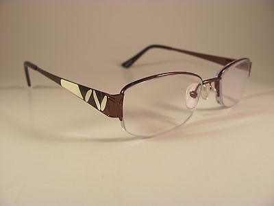 Zenni Optical 463115 Copper   White Rectangular Half Rim Rx Eyeglass Frames
