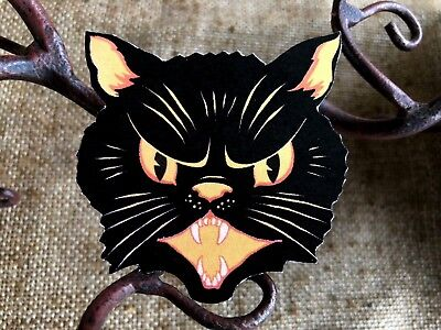 Repro Vintage Angry Yellow and Black Cat Halloween Mini Scrap Decoration, 3 1/8