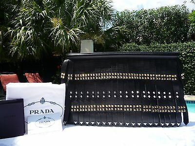 NWT Prada Black Nappa Leather Gold Studded Fringe Clutch-$2895-RARE & SOLD OUT!