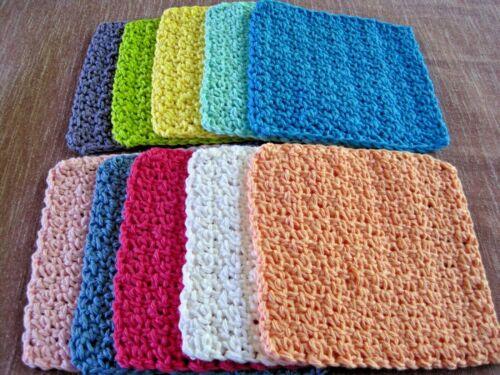 "10 Crochet  Dishcloths / Washcloths 100% Cotton - Handmade - 6 ""~ 10-2"