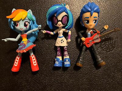 My Little Pony Equestria Girls Minis Bendable Lot of 3, Rainbow Dash, DJ PON-3