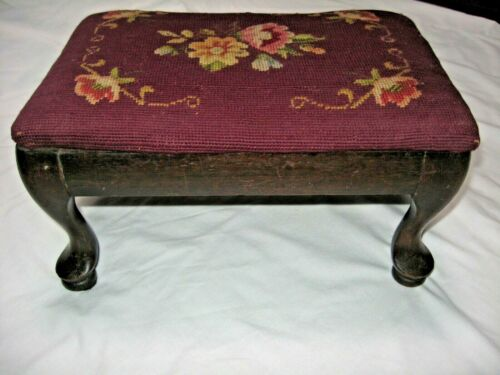 Antique Mahogany Wood Needlepoint Foot Stool Footrest Ottoman