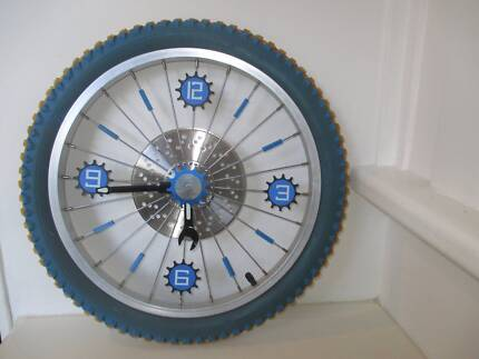 Bike Tyre Wall Display Blue and Yellow