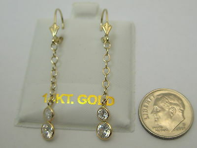 Solid 14k Yellow Gold Lever Back Cable Chain CZ Dangle Earrings Made In USA