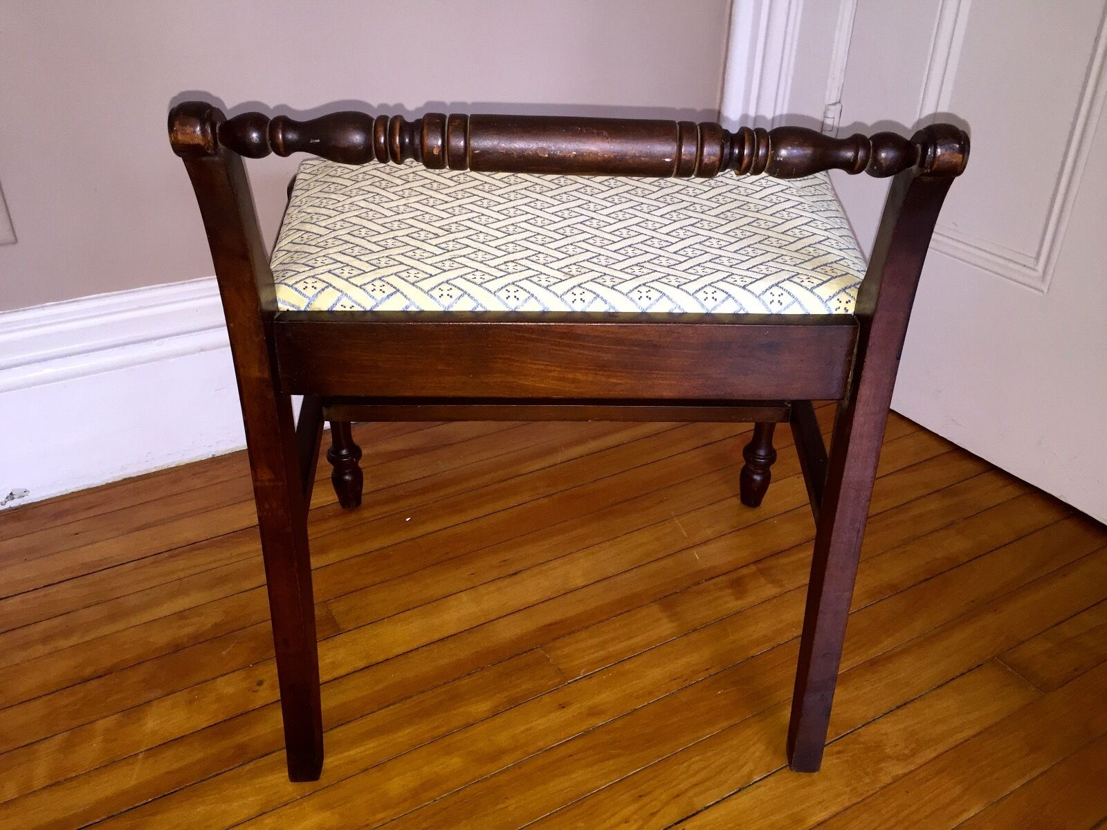 Antique Vintage Vanity Piano Bench New Upholstered Seat Turned Legs Picclick