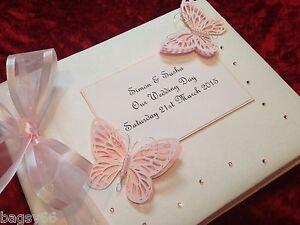 Large Personalised Wedding Photo Album in Box Baby Pink Diamante Butterfly