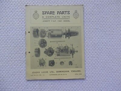 JOWETT 7 HP 1931 LUCAS Parts List published April 1932