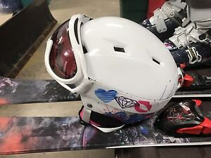 Skis, boots and helmet