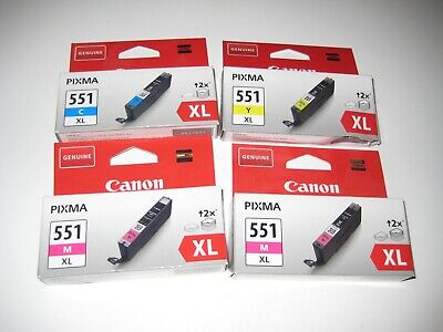 Lot de 4 Cartouches d'imprimante551 xl  Canon Pixma Couleur M-C-Y  (voir photo)